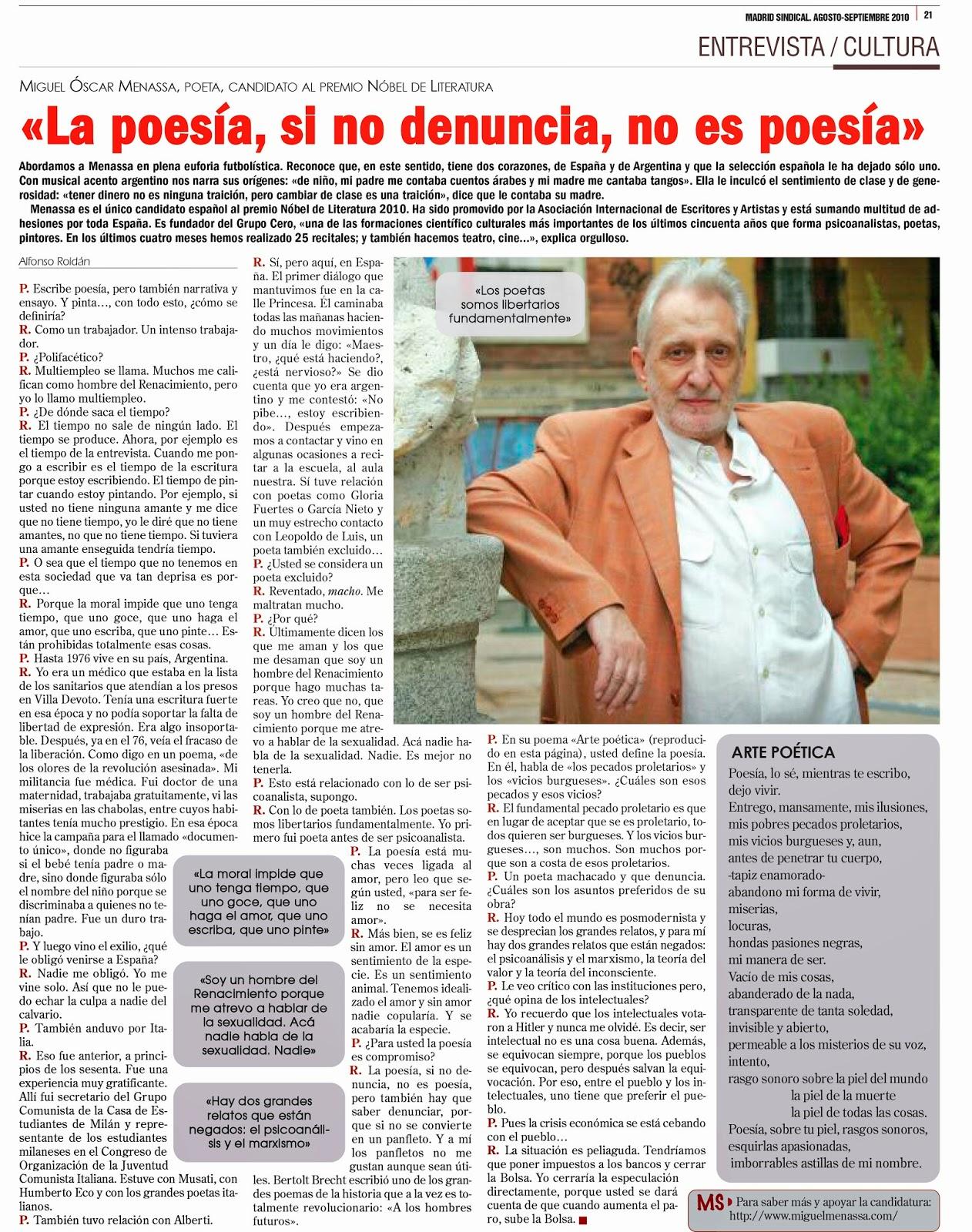 Miguel Óscar Menassa - Poeta