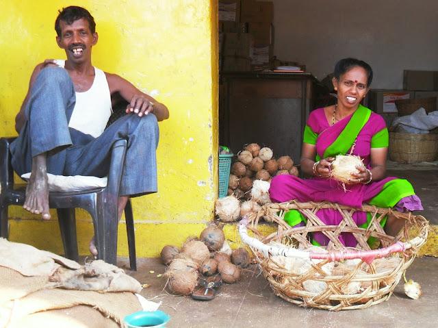 продавцы кокосов в Индии