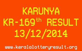 KARUNYA Lottery KR-169 Result 13-12-2014