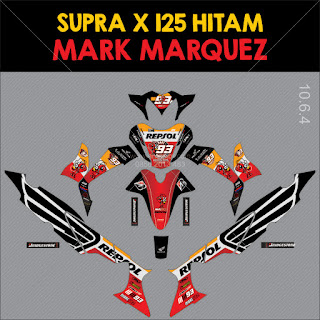Sticker striping motor stiker Honda Supra x 125 Marc Marquez