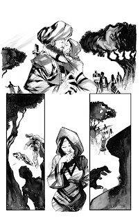 This is one of the pages of issue #2 of Drones (done with inkwashes)  by Bruno Oliveira