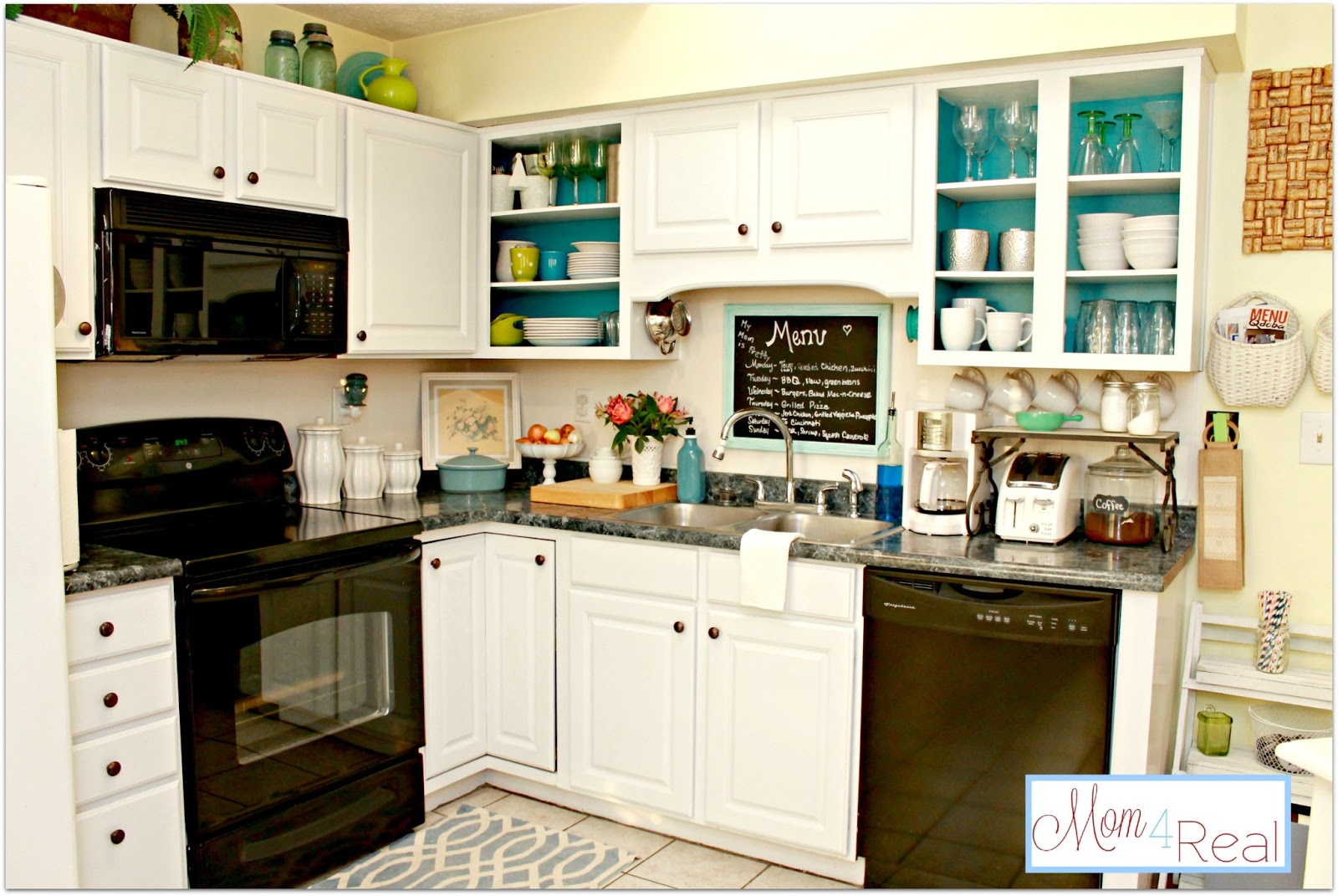 Open cabinets with white aqua lime green silver for Kitchen cabinets 50 off