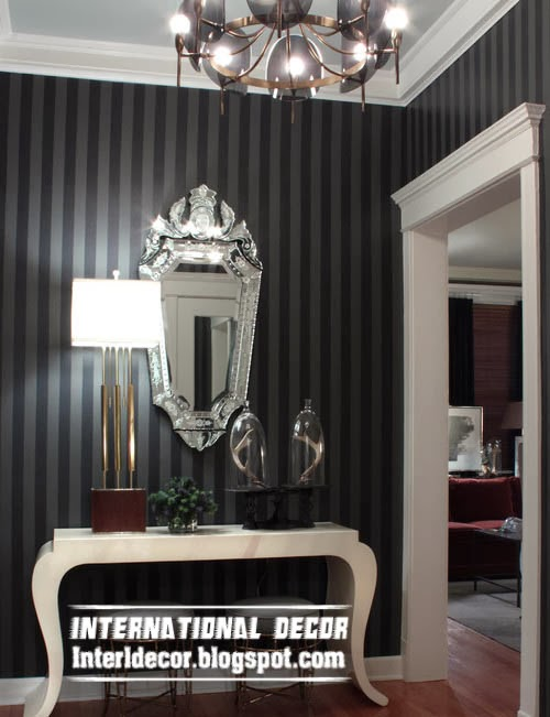 striped black wallpaper for interior design