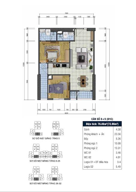 Thiết kế căn hộ số 8+9 - Chung cư Goldsilk Complex Vạn Phúc