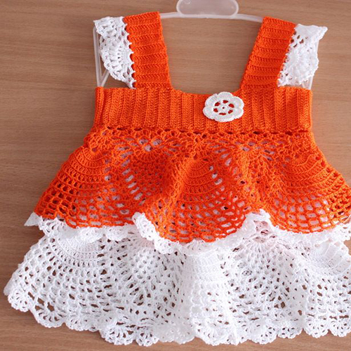 Orange and White Summer Girl Dress
