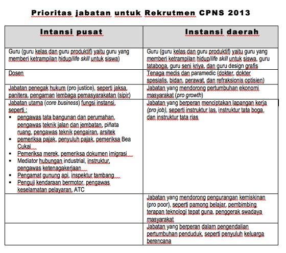 Prioritas Formasi Rekrutmen CPNS 2013