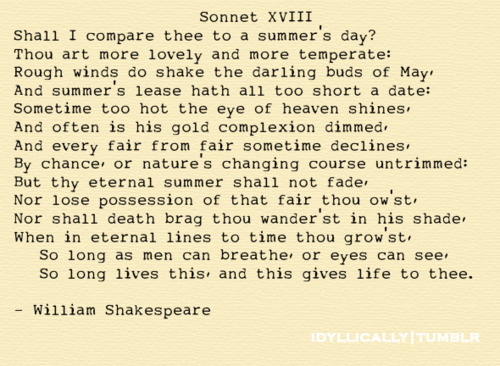 the comparison between love and a summers day in sonnet 18 by william shakespeare Sonnet 18 has 141 ratings and 18 reviews the classic love poem sonnet 18 by william shakespeare with the famous line shall i compare thee to a summer's.
