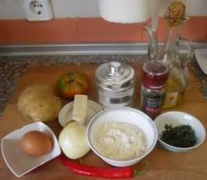 Ingredientes para las Bolas de patata rellenas.