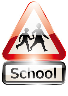 光沢のあるスクールゾーンの交通標識 Glossy shiny school signs vector graphic