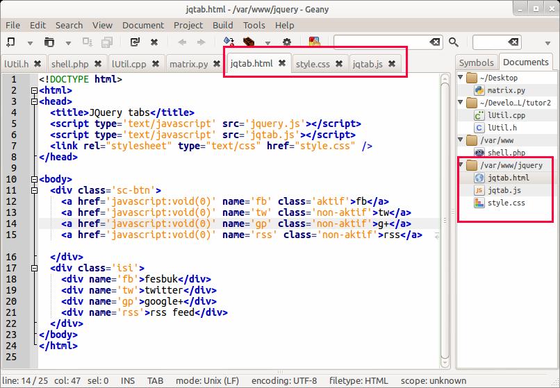 Tampilan naskah kode HTML di Geany IDE (Linux)