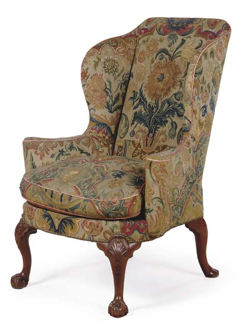 George II Walnut Chair, circa 1730. Christies More of those wonderful bold  flowers. - Antique Style: 18th Century George III Wingback Chair Upholstering
