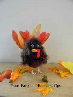 A picture of the craft turkey made from styrofoam, feathers and toothpicks