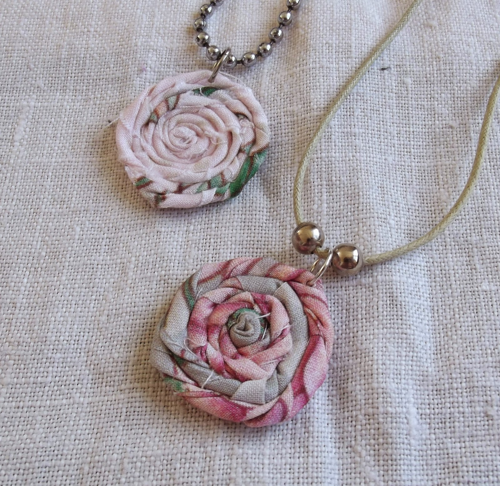 rag rolled rose stud earring tutorial necklace pendants