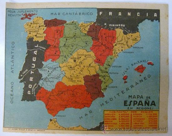 Mapa de España en regiones