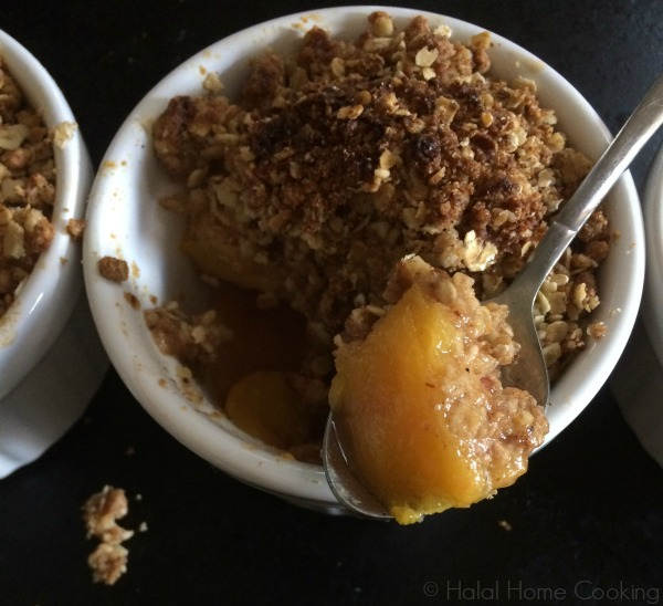 single serve peach crumble