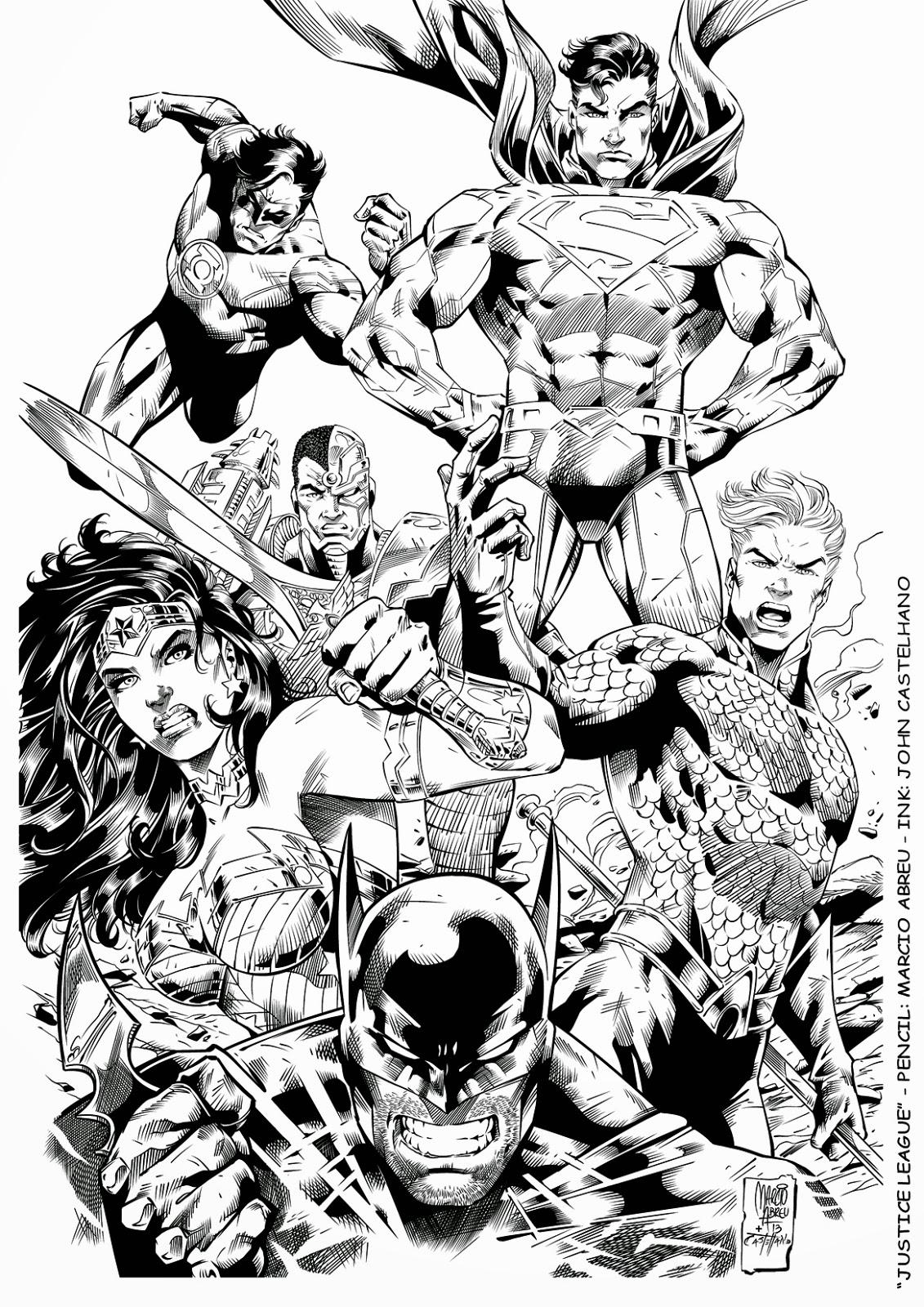 Justice League -Desenho (Pencil): Marcio Abreu - Arte-final (Ink): John Castelhano