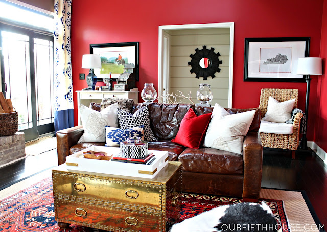 red walls and neutral stripes