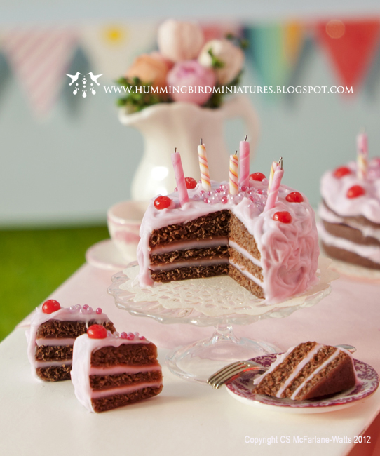 Hummingbird Miniatures Summer Party New Birthday Cake