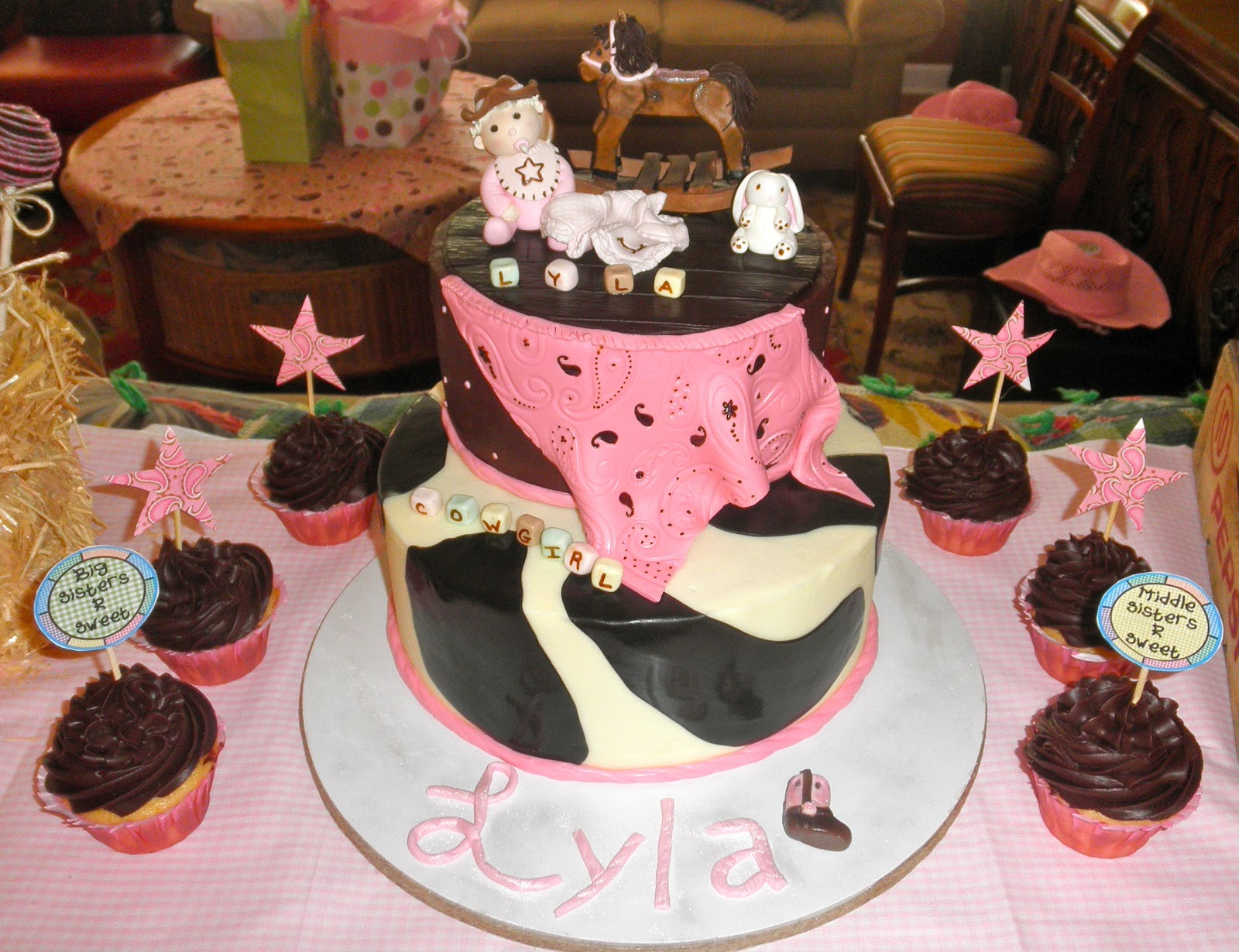 Western Theme Baby Shower Cake. Cowgirl Cake Topper