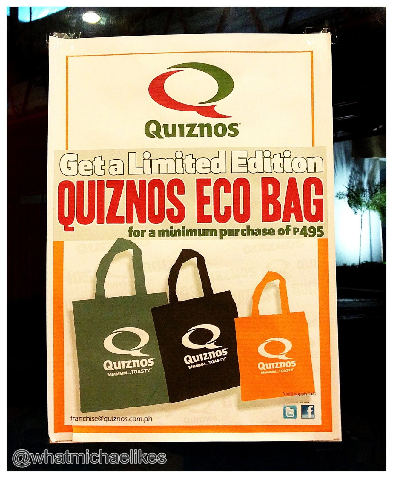 More On Quiznos, They're Trying Their Best Also To Keep Our Environment  Clean By Supporting The Antiplastic Ordinance Here In Quezon City