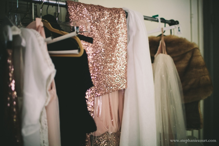 rose gold sparkle bridesmaids skirt