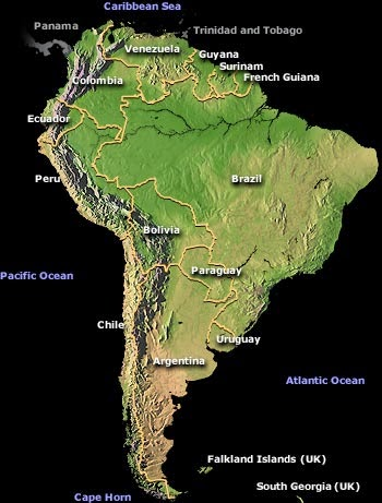 Physical map of South American with boundaries.