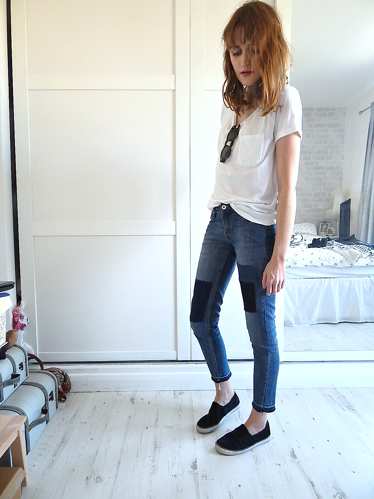 h&m patchwork denim jeans