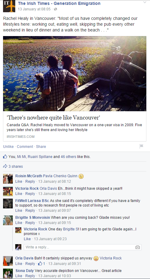 Rachel Healy in Vancouver on Facebook