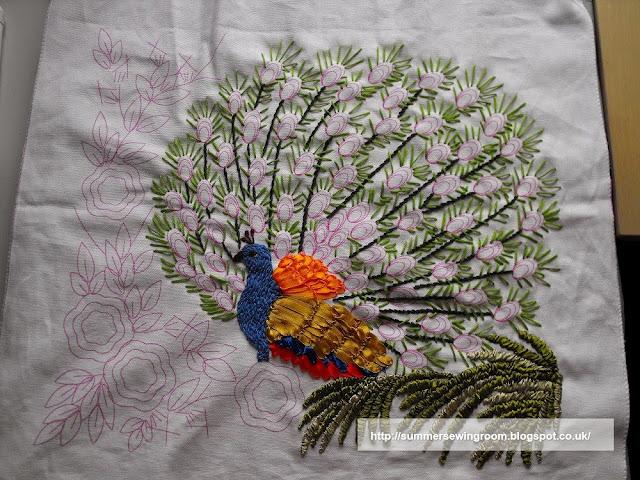 silk ribbon, peacock