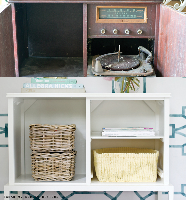 sarah m. dorsey designs: Refurbished Record Cabinet   Before + After