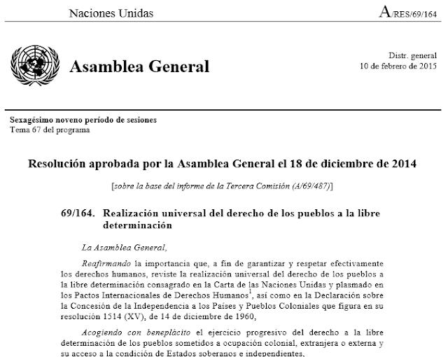 Resolución de la AG de la ONU sobre el derecho de los pueblos a la libre determinación
