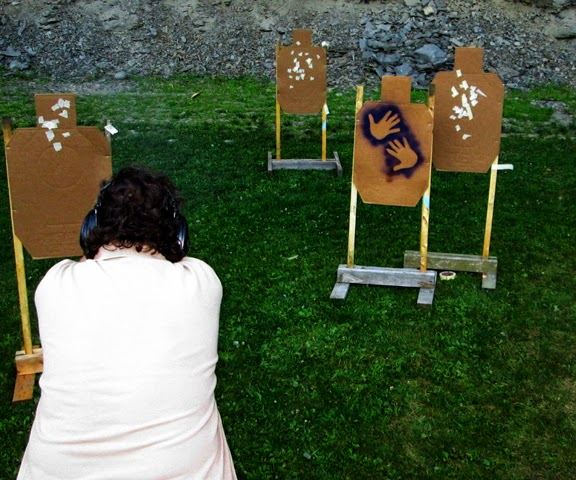 shooter has drawn and is engaging the three shoot targets