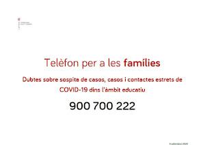 TELÈFON INFOCOVID FAMÍLIES