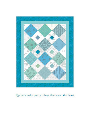 blue and green digital quilt poster