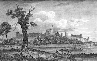 Windsor Castle from the Thames  from Memoirs of Her Late Majesty Charlotte by WC Oulton (1819)