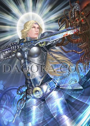 Ilustración de personaje (héroe desatado) hecha por ªRU-MOR para el juego de Cartas y fantasía  Épica. Edades Oscuras. Mujer guerrera, líder del Clan Bruda, clavando una espada a la cabeza de un demonio cortada.