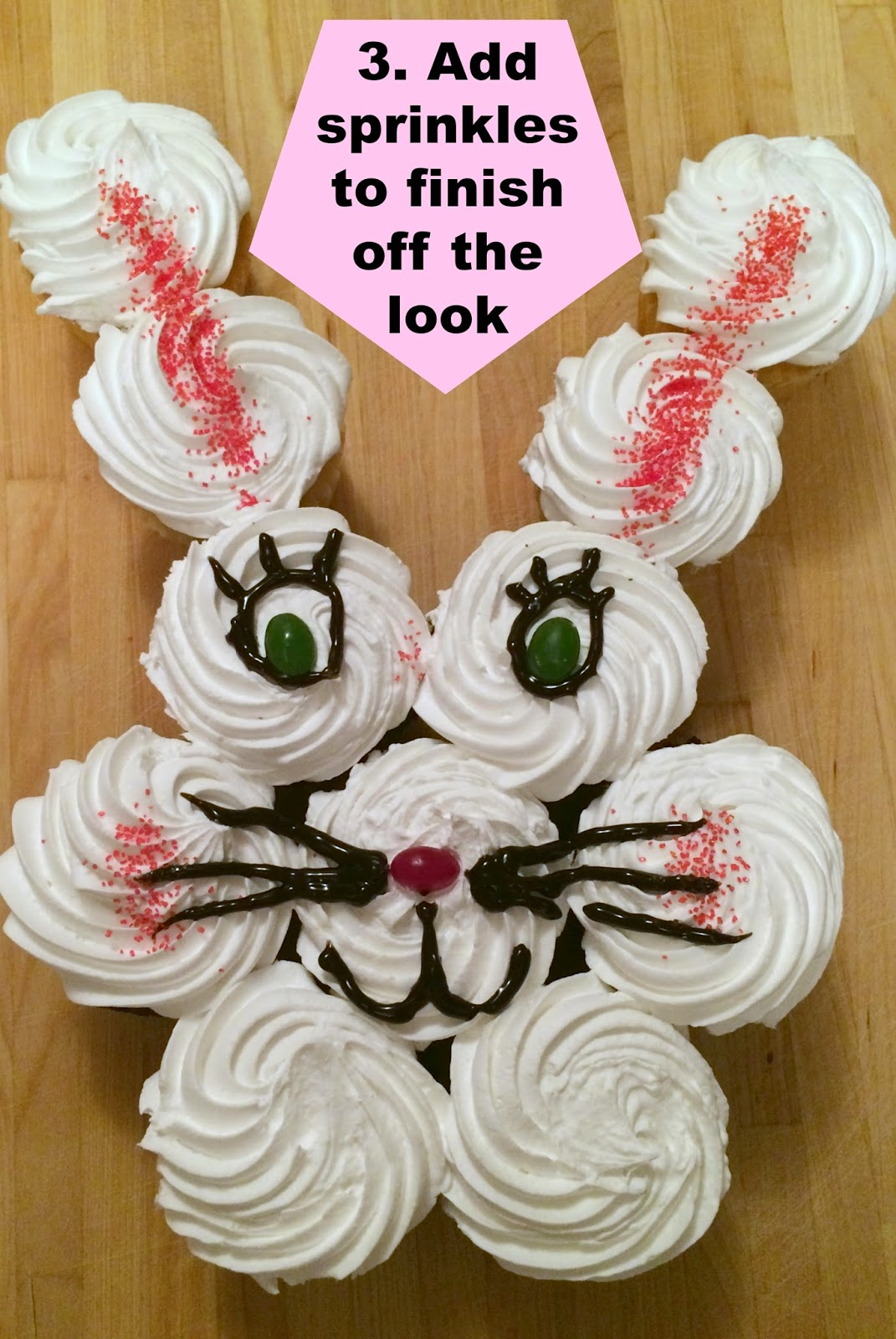 Easter Bunny Cake with cupcakes, cupcake bunny cake, easy easter bunny cake.