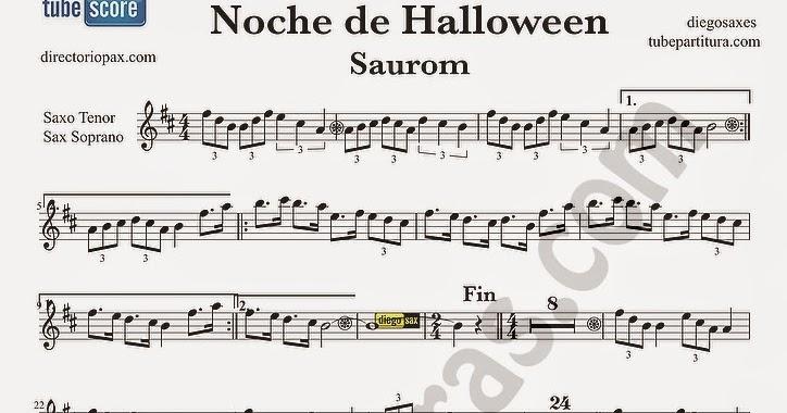 tubescore Noche de Halloween by Saurom Sheet Music for Tenor Saxophone and  Soprano Sax Halloween Night