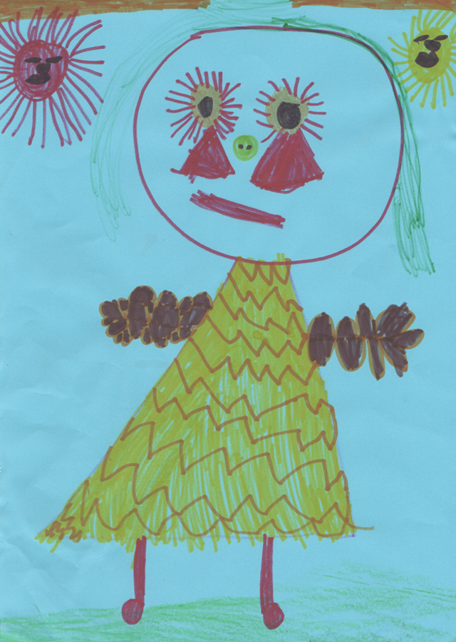 A drawing by Rose aged 5 of a lady with green hair, yellow dress and red legs and feet.