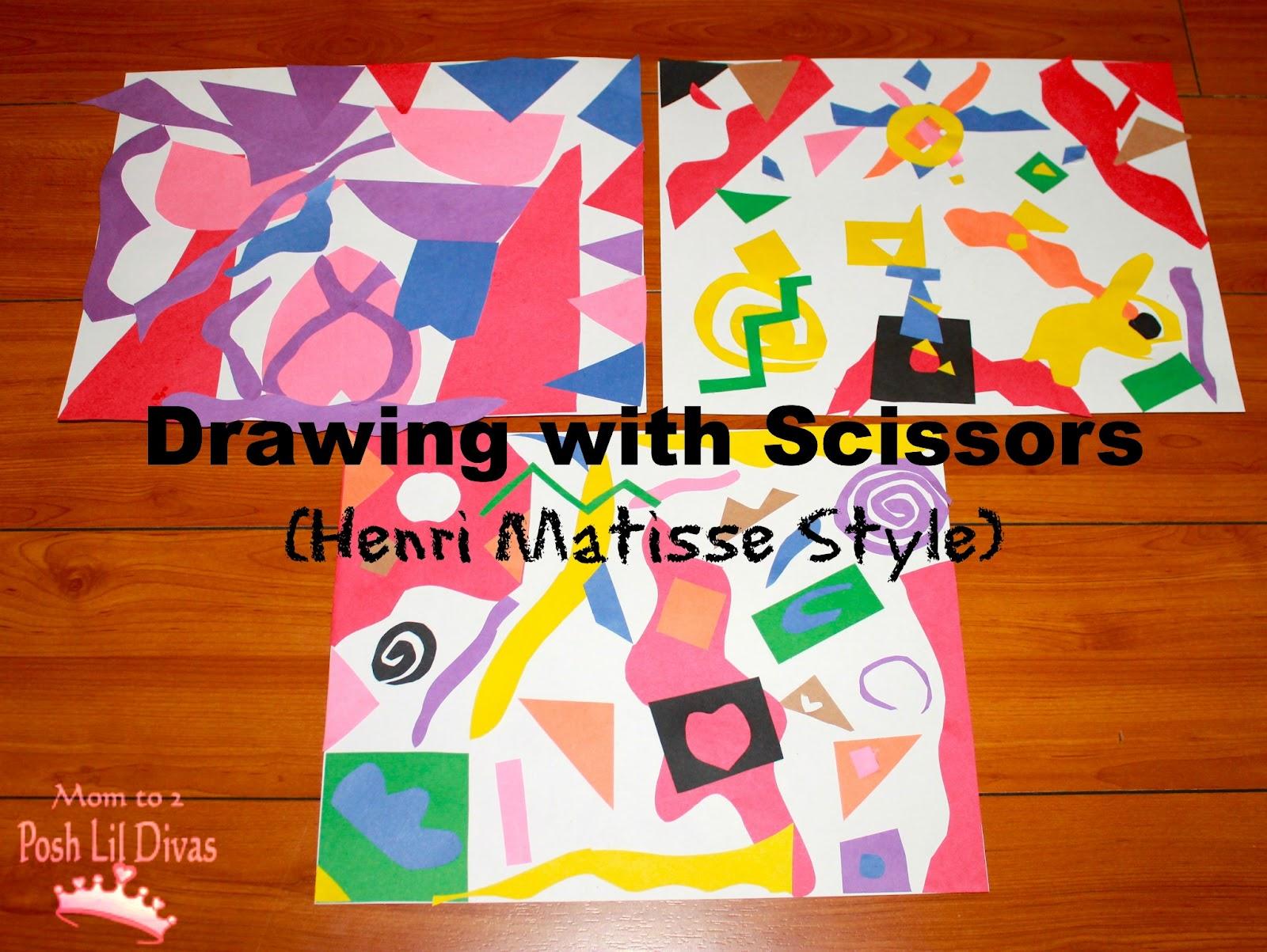 mom to 2 posh lil divas kids get arty drawing with scissors like