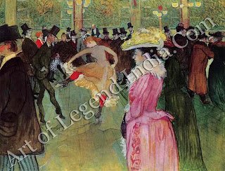 "The Great Artist Henri de Toulouse-Lautrec ""The Dance at the Moulin Rouge"" 1890 45¼"" x 59"" Philadelphia Museum of Art, Henry P. Mcllhenny Collection"