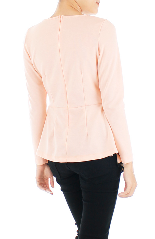 Diamond Peplum Long Sleeve Blouse – Light Pink