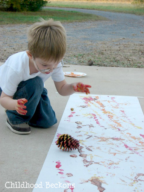 painting with nature, fall art