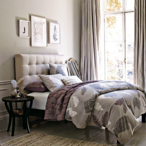 grey bedroom with grey leaves pattern bedding