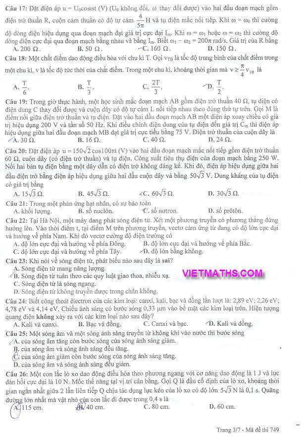 đáp án môn lý năm 2012 khối a