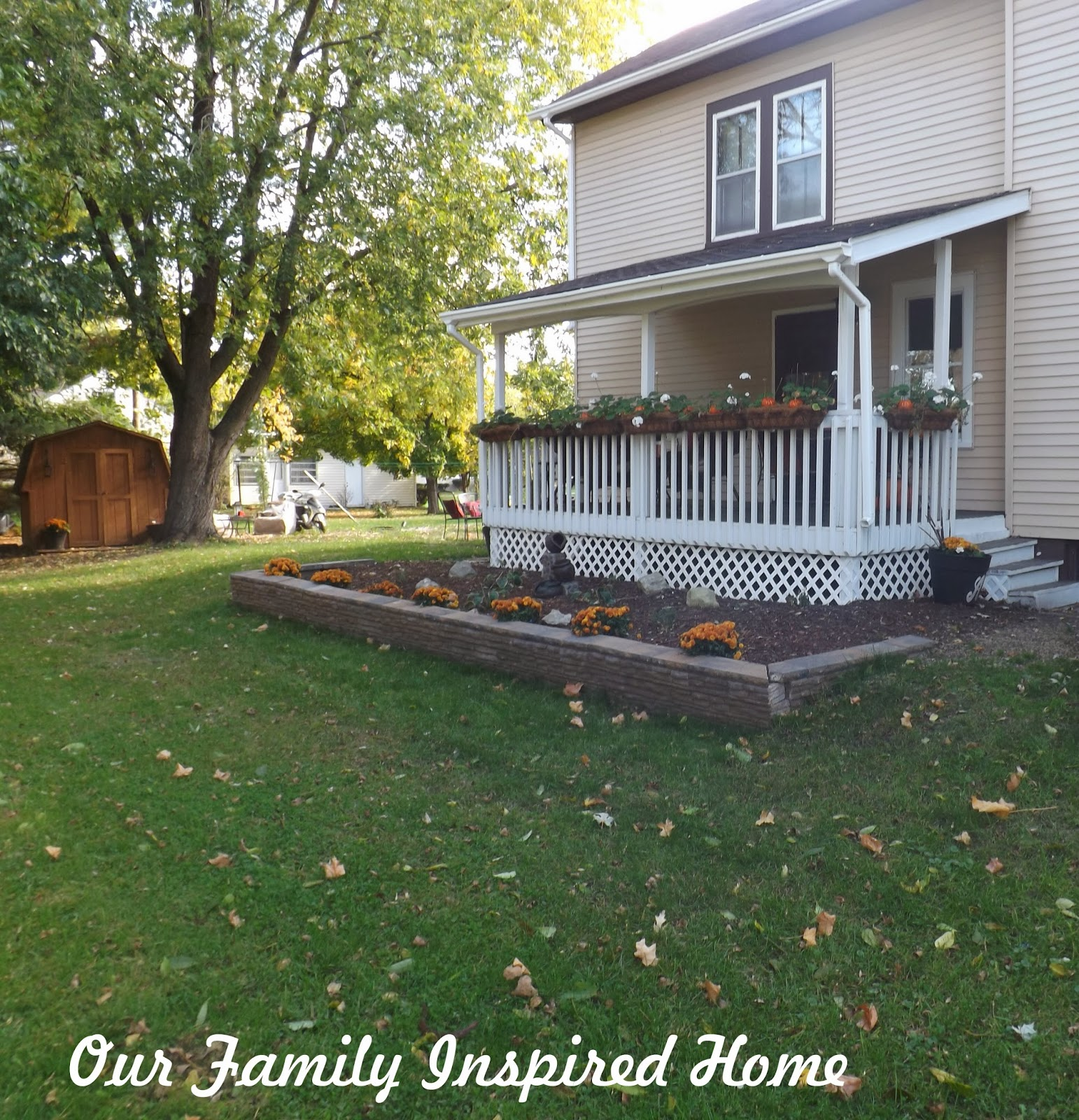 Our family inspired home side porch autumn 2013 for Side porch