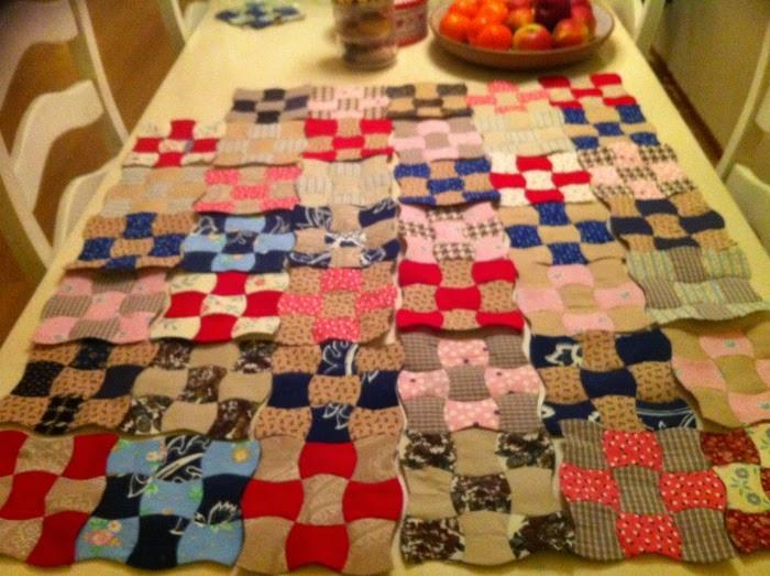 Ontwerp handgenaaide klokhuisjes quilt in willekeurige volgorde