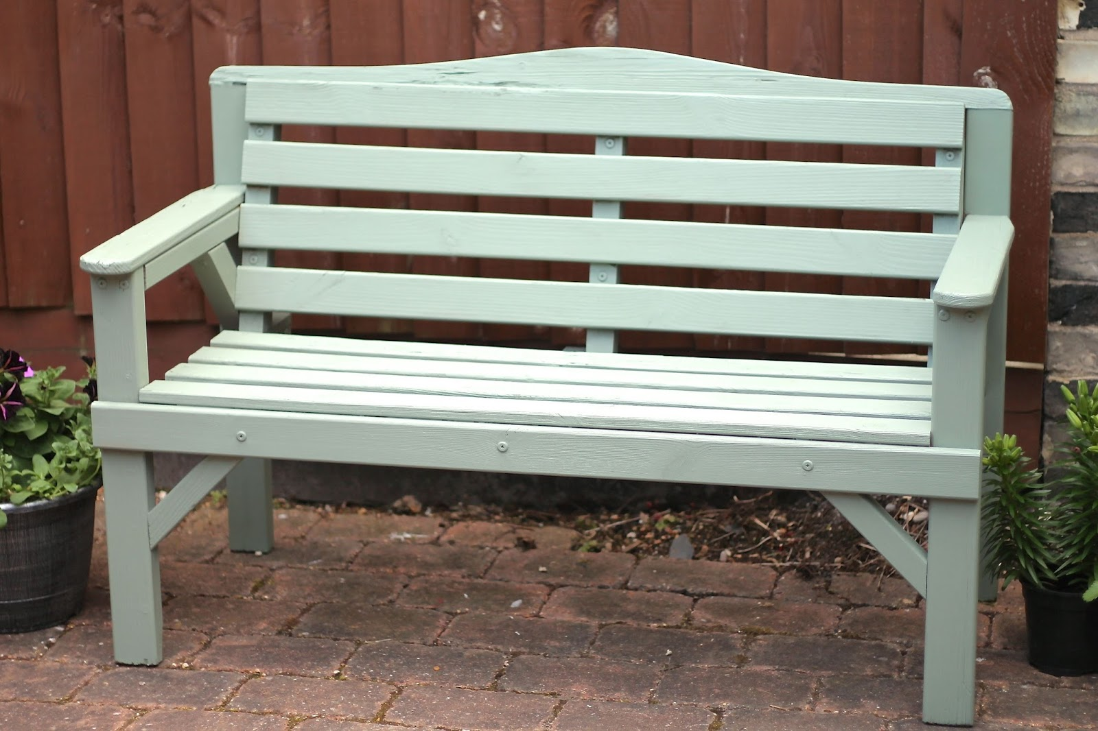 Garden bench painted in Cuprinol Garden Shades Willow