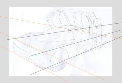 draw ferrari enzo rough sketch draft perspective guidlines