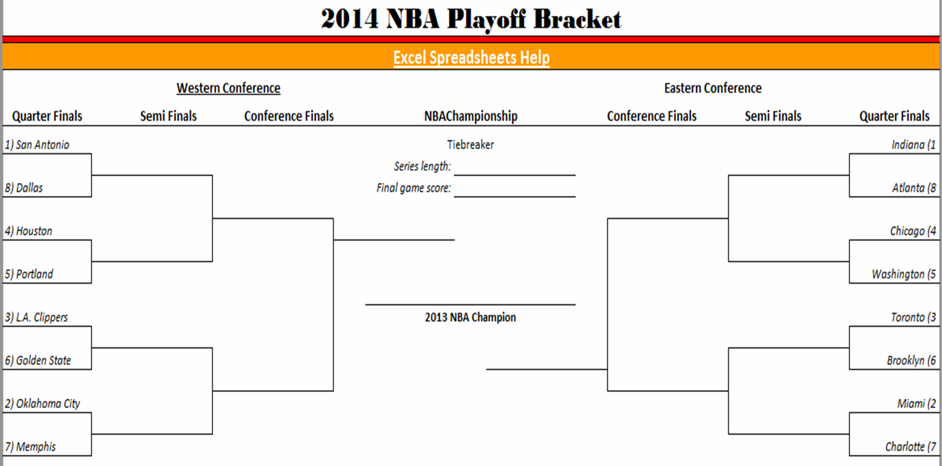 photo about Nba Playoffs Bracket Printable named Excel Spreadsheets Assist: 2014 NBA Playoff Bracket inside of Excel